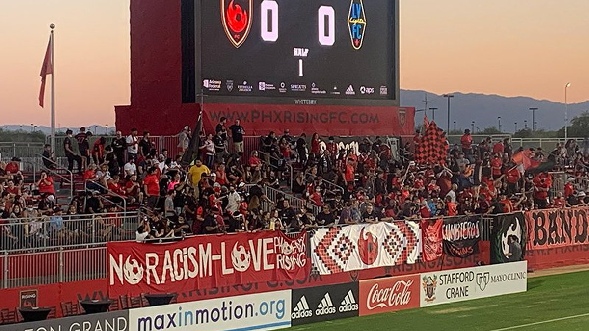 Members of the Los Bandidos supporters group were happy to return to celebrating Phoenix Rising...