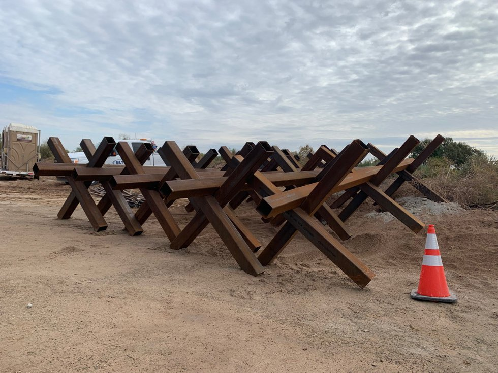 Construction is underway of the new border wall new Yuma, Arizona. The wall replaces old...