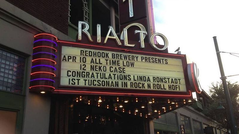 Rialto Theatre's marquee congratulating Linda Ronstadt