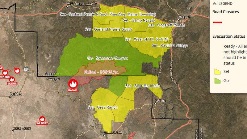 Areas in green are in GO evacuation status as of Thursday morning, June 24, because of the...