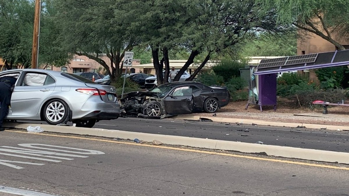 The collision involved a silver 2018 Toyota Camry and a gray 2016 Dodge Challenger.