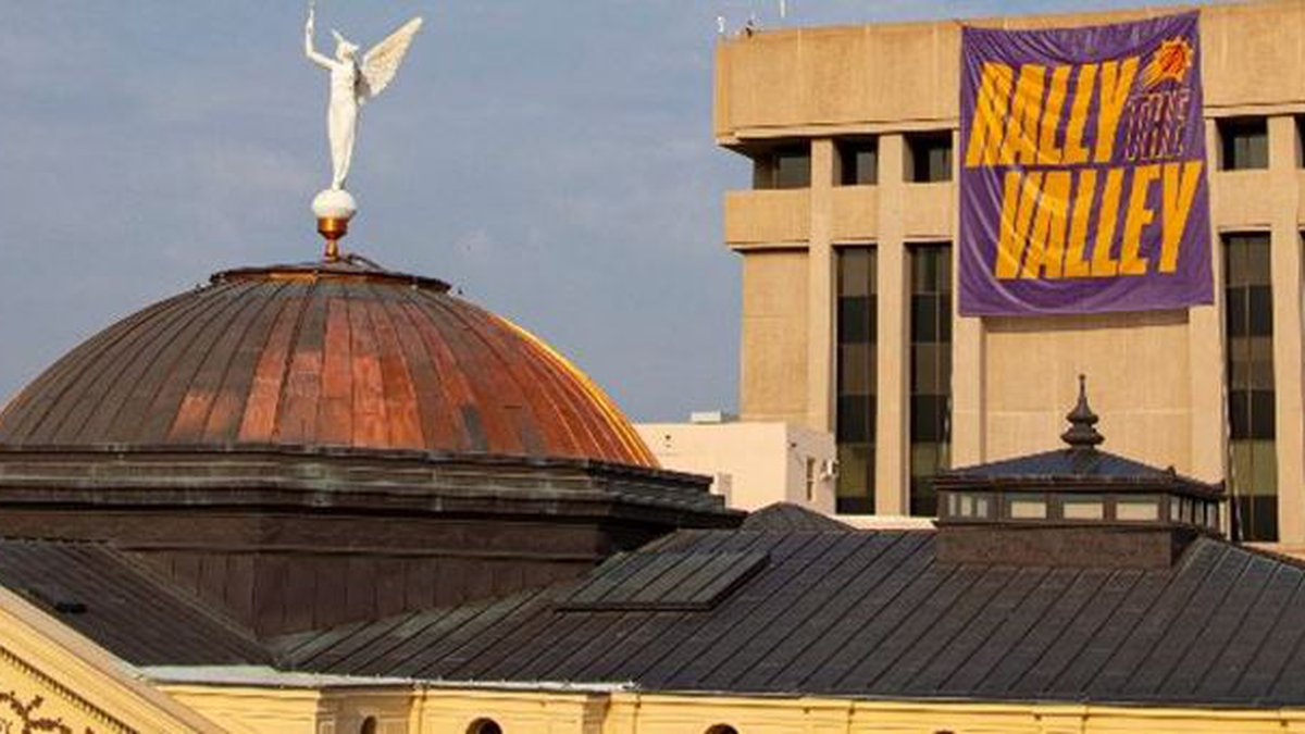 A banner supporting the Phoenix Suns will hang from the Arizona Capitol Executive Tower...