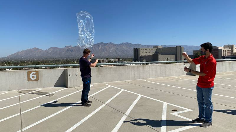 UA students launch four pico balloons to collect information on earth's atmosphere. The team...