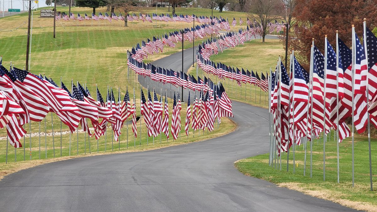 Volunteers installed more than 700 flags for Veterans Day at the Avenue of Flags located at...
