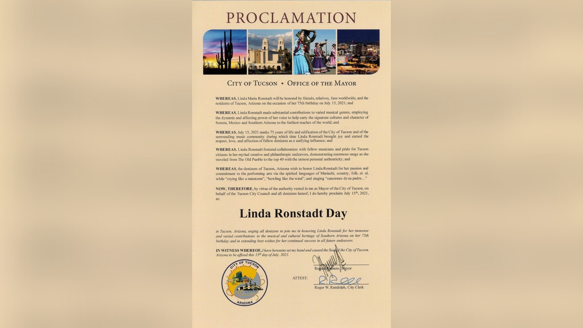 Official Linda Ronstadt Day proclamation