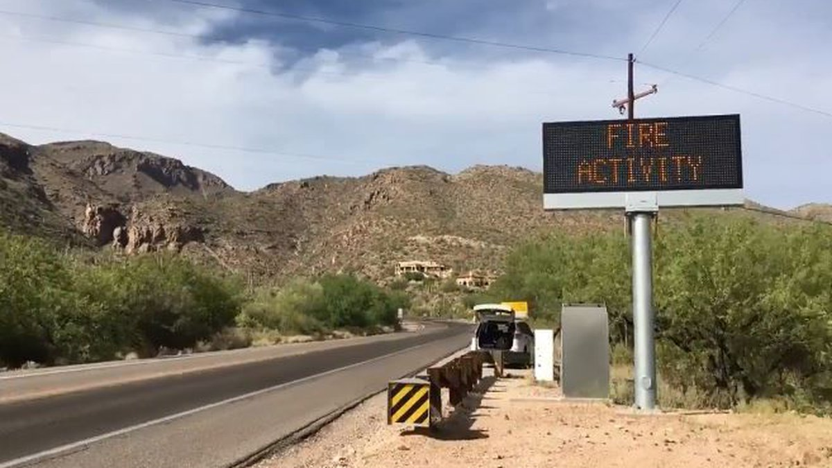 Electronic sign at base of Mt. Lemmon warning of fire activity. (Source: Tucson News Now)
