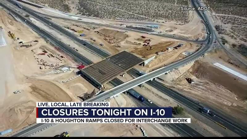 Closures tonight on I-10