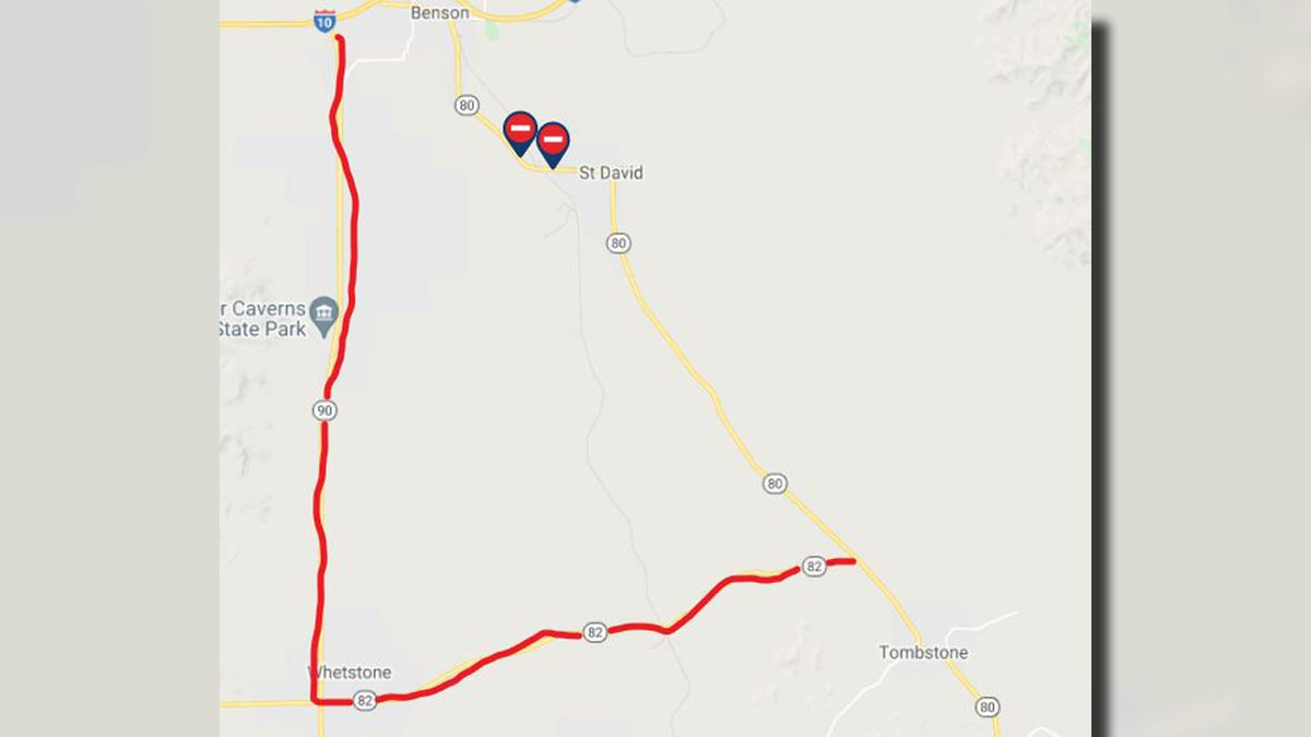 Drivers traveling between Benson and Tombstone are advised to use SR 90 and SR 82 as a detour.