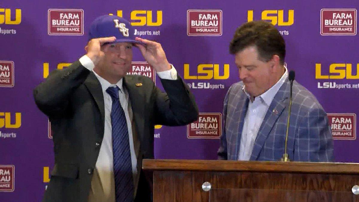 LSU athletic director Scott Woodward introduces Jay Johnson as the new head baseball coach on...