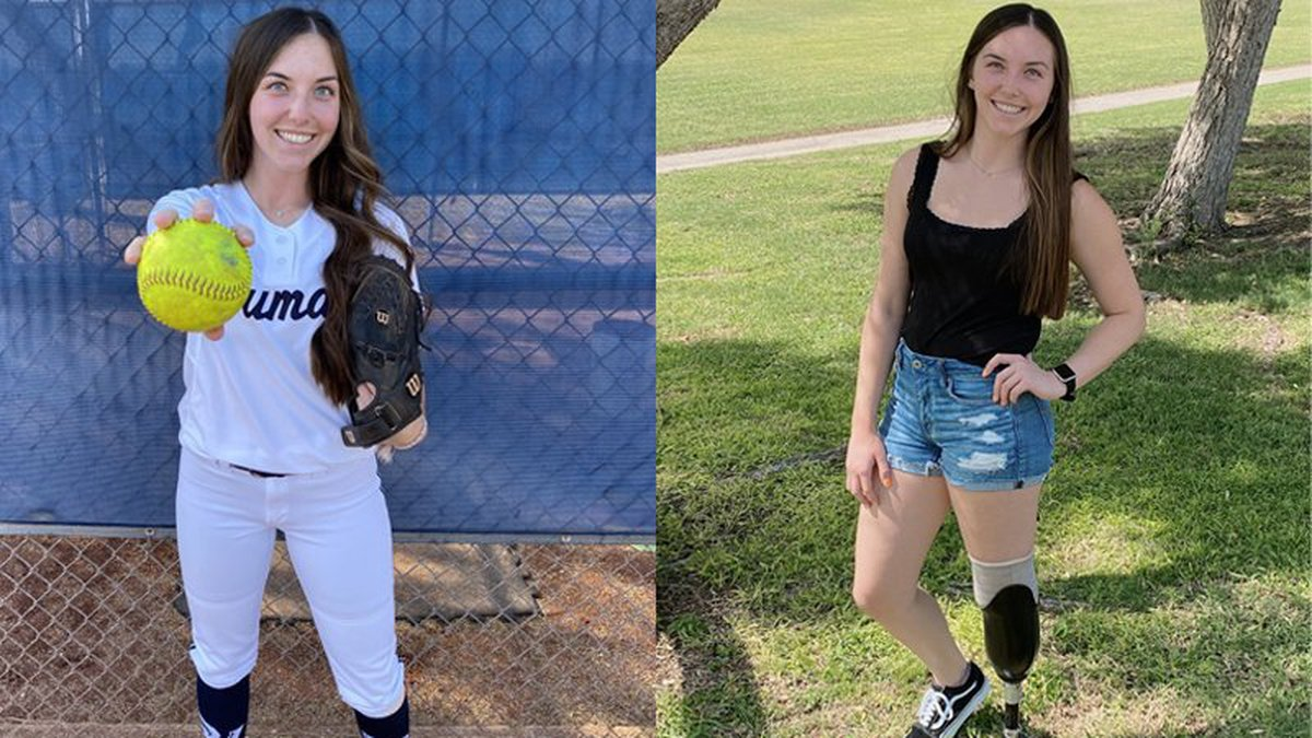 Left: Emily White played softball at Centennial High School and then Paradise Valley Community...