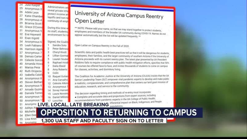 UA staff sign letter