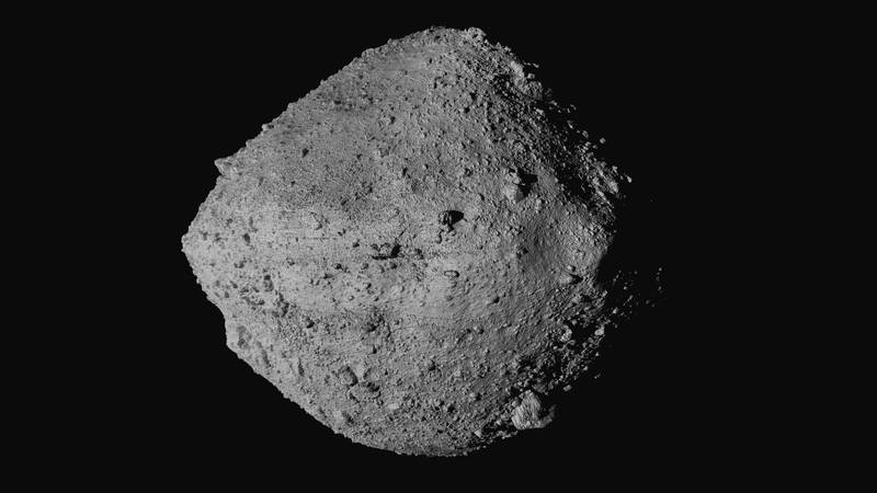 This undated image made available by NASA shows the asteroid Bennu from the OSIRIS-REx...