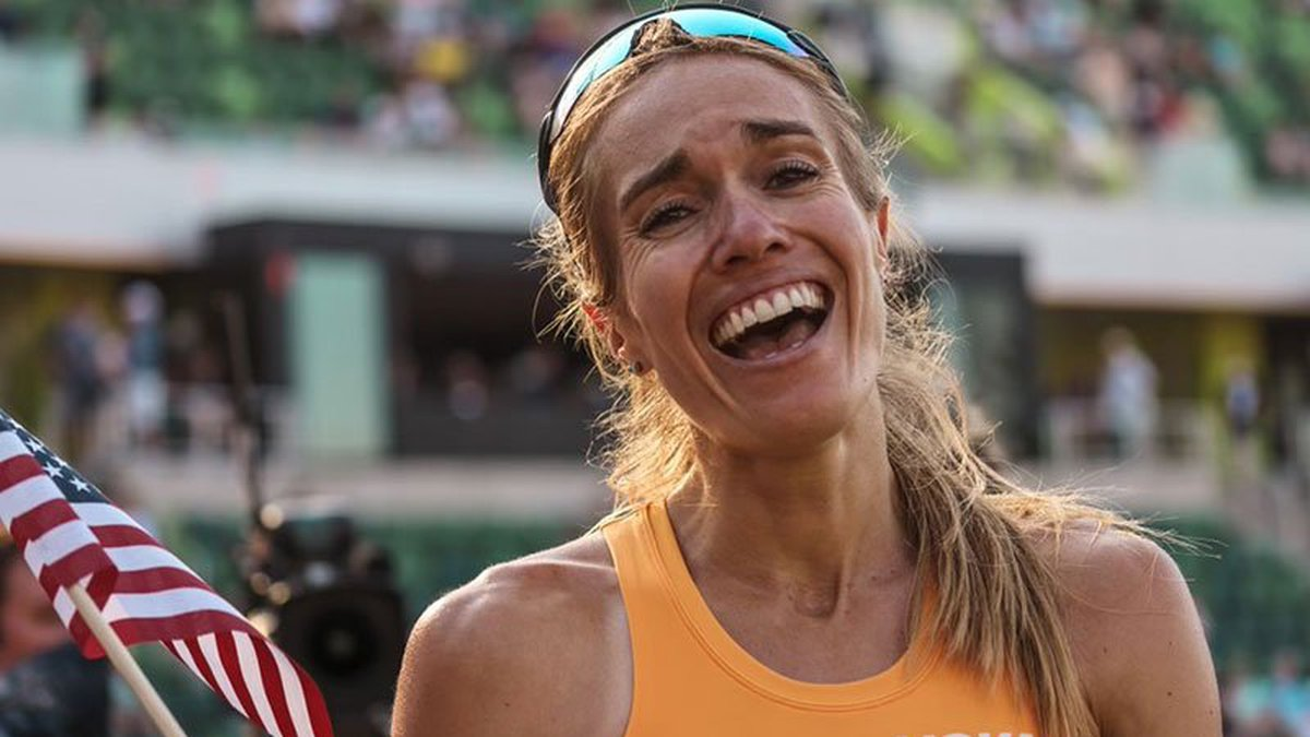 Rachel Schneider finished the 5,000 meters with a time of 15:29:56 at the Olympic Trials to...