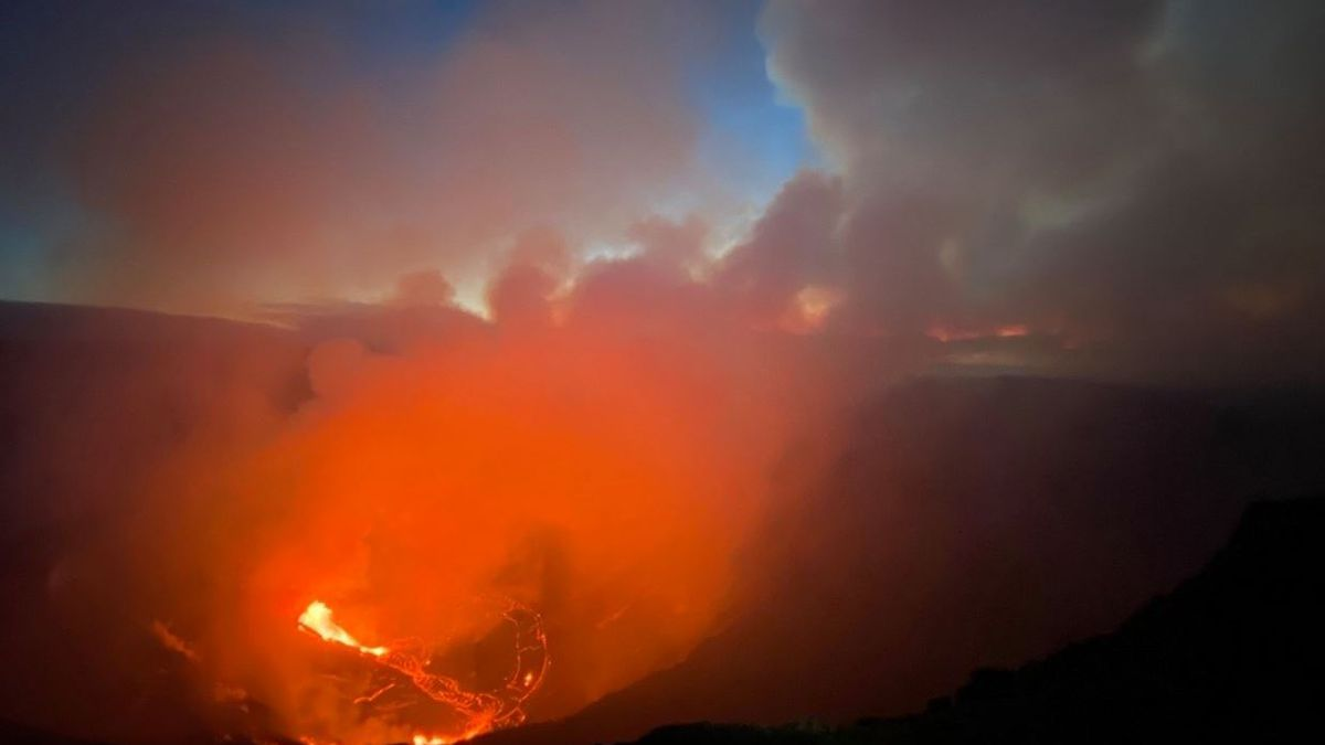 The bright orange glow greeted a glorious sunrise Monday morning at the crater.