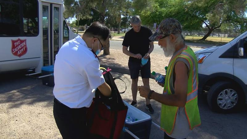 Salvation Army estimated they have gotten about a tenth of the water donations they normally...