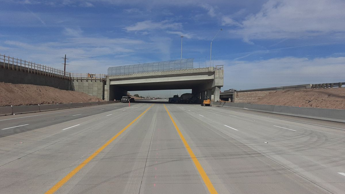 ADOT says the I-10, Ruthrauff Interchange project is near its halfway mark. Eastbound lanes...