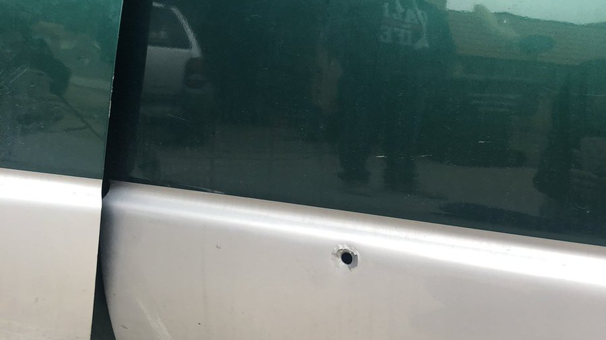 A bullet hole in a truck following a road road rage incident on the west side.