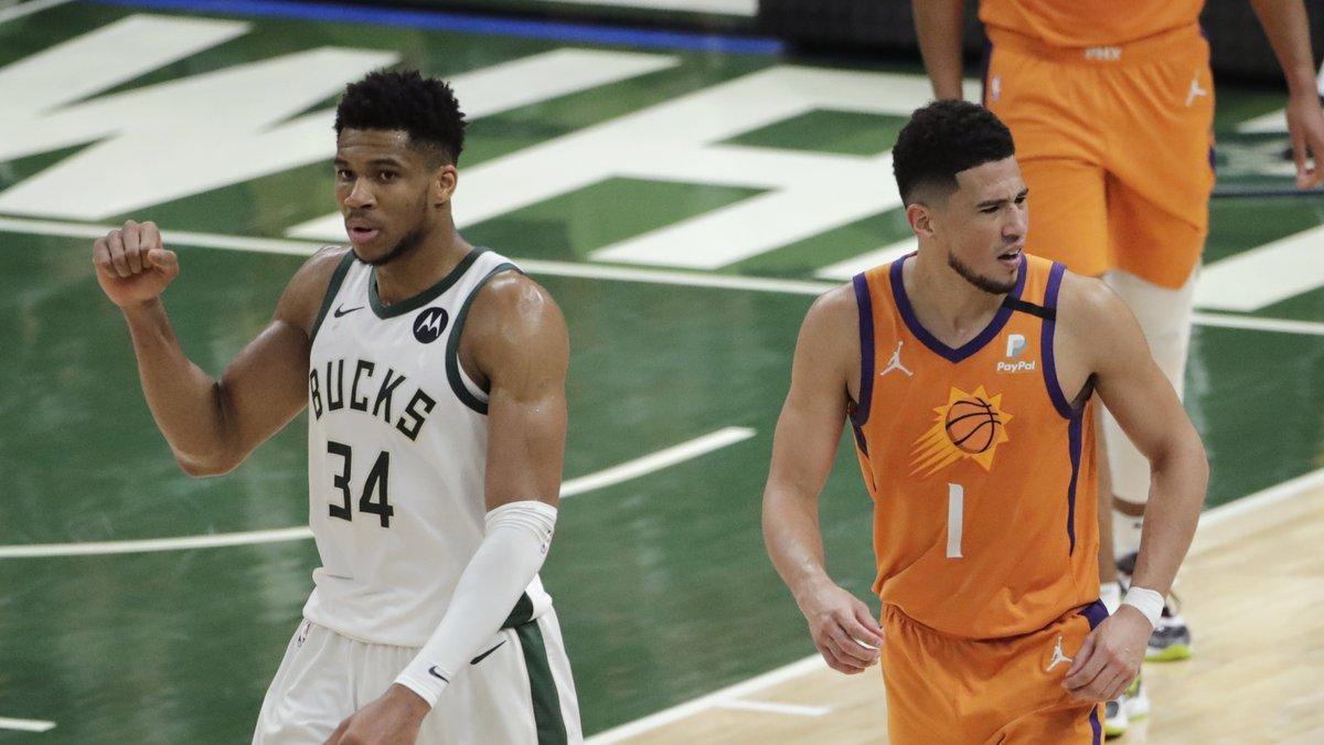 Milwaukee Bucks forward Giannis Antetokounmpo and Phoenix Suns guard Devin Booker.