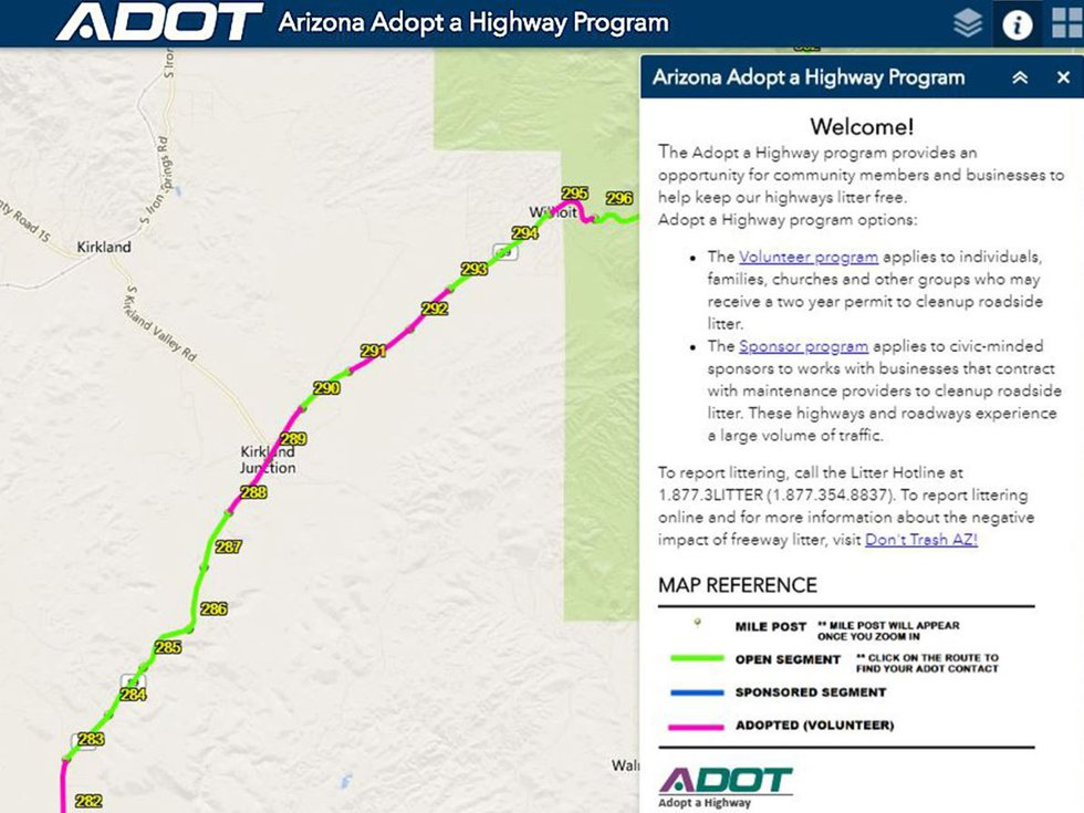 New interactive map for adopt a highway program. (Source: Arizona Department of Transportation)