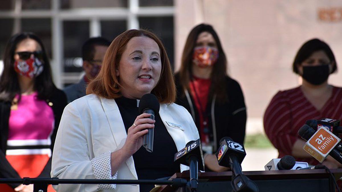 The Rev. Katie Sexton of the Arizona Faith Network speaks Wednesday, April 7, at the state...
