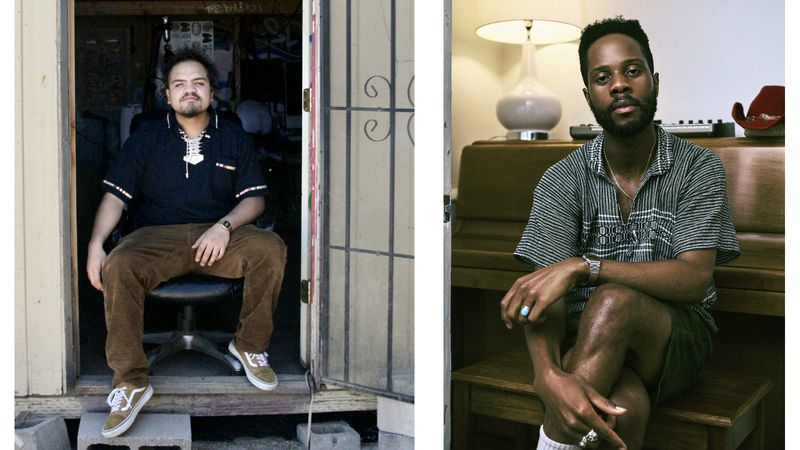 (From left) Psypiritual sits in the door way of his music studio at his home in Tucson, Ariz....